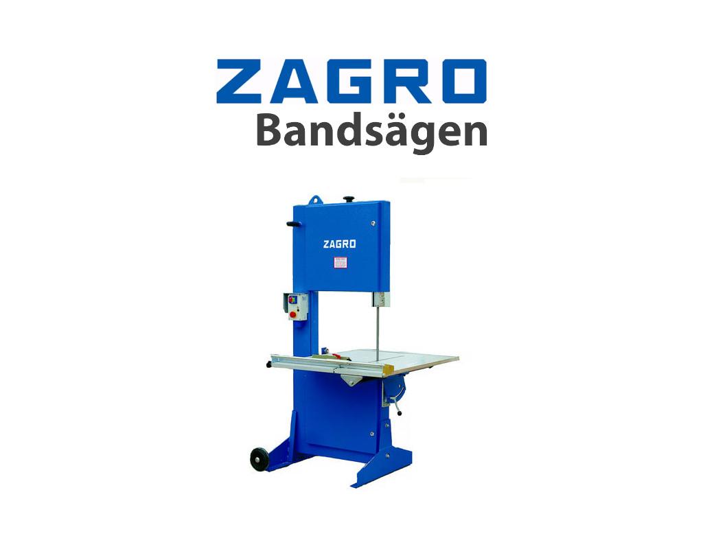 Blaue ZAGRO Logo mit dem Untertitel Bandsägen und ein Bild der Baustein Bandsäge des Modells UVB 500