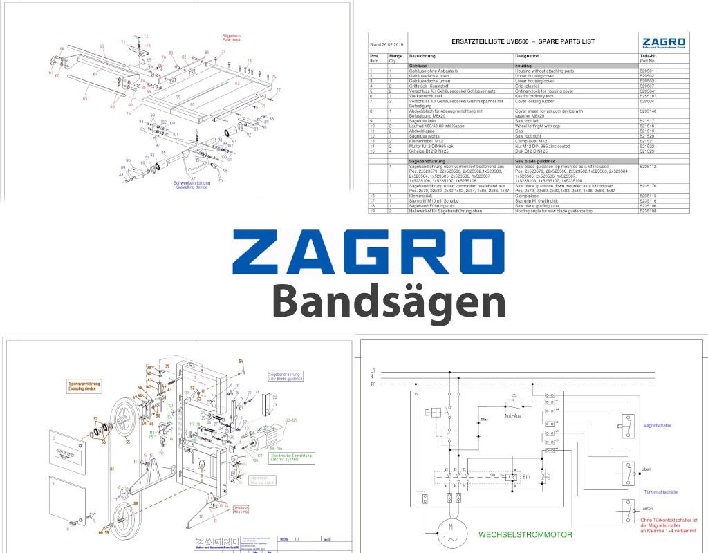 ZAGRO Bandsägen Downloads, Betriebsanleitung, Info, Technische Zeichnungen etc.